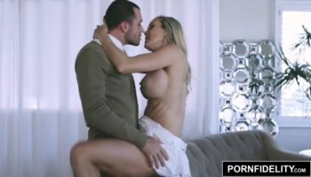 Gorgeous Melanie Rios giving blowjob and riding cock on the table