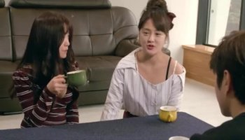 Two sexy sluts have POV group sex and get facialized